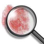 Blood fingerprint through magnifying glass — Stock Photo