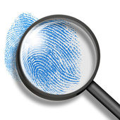 Fingerprint through magnifying glass — 图库照片
