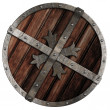 Stock Photo: Old crusader wooden shield with metal border isolated on white