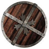 Old crusader wooden shield with metal border isolated on white — Stock Photo