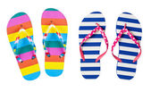 Colourful flip flops isolated on white — Stock Photo