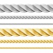 Steel and golden ropes set isolated on white — Stock Photo
