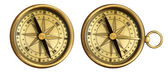 Aged brass antique nautical pocket compass set isolated on white — Stock Photo