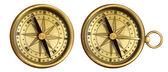 Aged brass antique nautical pocket compass set isolated on white — Stock Photo