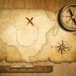 Aged treasure map, ruler and old brass compass on wooden table t — Stockfoto
