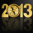 2013 new year digits with golden compass illustration — Stock Photo