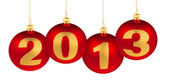 2013 new year digits made of christmas tree decoration red balls — Stock Photo