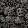 Many old rusty metal gears or machine parts — Stock Photo