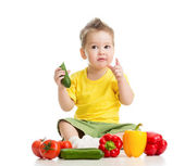 Child or kid eating healthy food isolated on white — Stock Photo