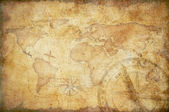 Aged treasure map with compass background — Stock Photo