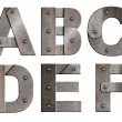 Old grunge metal alphabet letters isolated on white. From A to F - Stock Photo