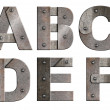 Old grunge metal alphabet letters isolated on white. From A to F — Stock Photo
