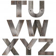 Old grunge metal alphabet letters isolated on white. From T to Z - Stock Photo