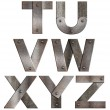 Old grunge metal alphabet letters isolated on white. From T to Z — Stock Photo