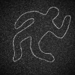 Royalty-Free Stock Photo: Chalk outline of dead body on asphalt road