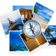 Traveling photos collage with compass on white background - Stock Photo