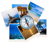 Traveling photos collage with compass on white background — Foto de Stock