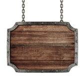 中世纪招牌用链子上白色隔离 — 图库照片