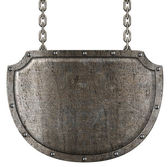 Medieval metal signboard hanging on chains isolated on white — Stock Photo