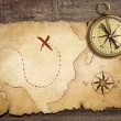 Aged brass antique nautical compass on table with old treasure m — Stock Photo #16933463