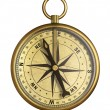 Stock Photo: Aged brass antique nautical pocket compass isolated on white