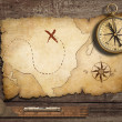 Aged brass antique nautical compass on table with old treasure m — Stock Photo