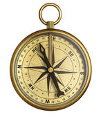 Aged brass antique nautical pocket compass isolated on white — Stock Photo