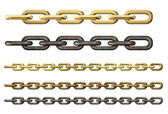 Metal chains set isolated on white — Stock Photo