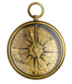 Brass antique compass isolated on white — Stock Photo