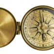 Golden antique pocket compass with lid isolated on white — Stock Photo #17171679