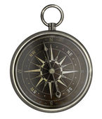 Antique silver compass with dark face isolated on white — Stock Photo