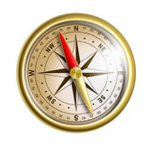 Modern golden compass isolated on white — Stock Photo