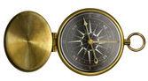 Antyczne kieszeni kompas z pokrywą i skali czarno na białym tle o — Zdjęcie stockowe