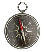 Old metal compass with dark face isolated on white — Stock Photo