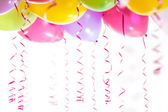 Balloons with streamers for birthday party celebration isolated — Stock Photo