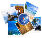 Traveling photos collage with compass on white background — Stock Photo
