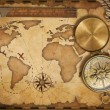 Stock Photo: Aged treasure map, ruler, rope and old brass compass with lid