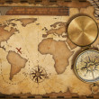 Royalty-Free Stock Photo: Aged treasure map, ruler, rope and old brass compass with lid