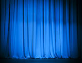 Theatre blue curtain — Stock Photo
