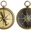 Old compass collection. Two aged brass antique nautical pocket c — Stock Photo