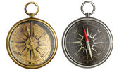 Brass antique compass collection — Stock Photo