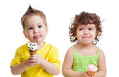 Kids with cone ice cream isolated on white — Stock Photo