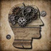 Menselijk brein werk metafoor gemaakt van roestige metalen tandwielen — Stockfoto