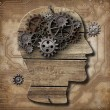 Human brain made of rusty metal gears and hogs over grunge circu — Stock Photo