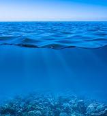 Surface de l'eau de mer toujours calme avec un ciel dégagé et worl sous-marine — Photo