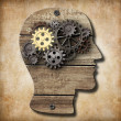 Brain model made from rusty metal gears and gold one — Stock Photo