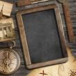 Stock Photo: Vintage treasure map, blackboard with copyspace, old compass sti