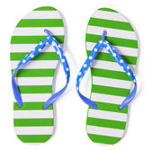Green flip flops isolated on white with clipping path included w — Stock Photo