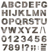 Full old metal alphabet letters, digits and punctuation marks is — Zdjęcie stockowe