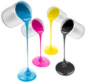 Cmyk pouring paints from cans isolated on white — Stock Photo